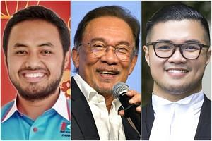 Speculation on social media had linked Farhash Wafa Salvado (left), Datuk Seri Anwar Ibrahim's (centre) political secretary, to Mr Haziq Aziz, and he was said to have been uncontactable after the latter's arrest.