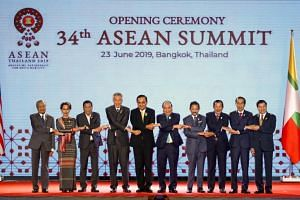 Asean leaders posing for a group photo at the 34th Asean Summit in Bangkok on June 23, 2019.