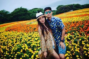 Hong Kong actors Sammy Leung posing with his wife Veronica.