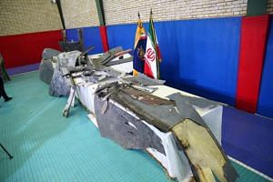 Purported wreckage of the downed American drone displayed by the Islamic Revolution Guards Corps in Teheran, Iran, on June 21, 2019.