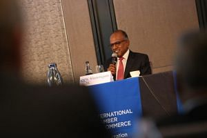 Law and Home Affairs Minister K. Shanmugam speaking at the ICC Asia Conference on International Arbitration on June 26, 2019.