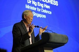 Defence Minister Ng Eng Hen speaking at the opening dinner of the second Singapore Defence Technology Summit on June 26, 2019.
