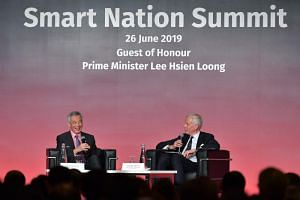 Prime Minister Lee Hsien Loong at the Smart Nation Summit closing dialogue, Challenges for Next-Gen Leadership in a Digital-As-Usual Age, moderated by Mr Dominic Barton, global managing partner emeritus at McKinsey & Company, on June 26, 2019.