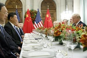 US President Donald Trump at a bilateral dinner meeting with Chinese President Xi Jinping during the Group of 20 Summit, in Buenos Aires, Argentina, on Dec 1, 2018.
