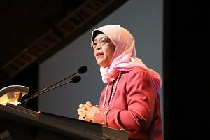 President Halimah Yacob speaking at the International Council of Nurses's biennial congress, which opened at the Sands Expo and Convention Centre on June 27, 2019.