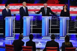 Democratic presidential hopefuls (from left) Pete Buttigieg, Joe Biden, Bernie Sanders and Kamala Harris during the second Democratic primary debate of the 2020 presidential campaign season in Miami, Florida, on June 27, 2019.