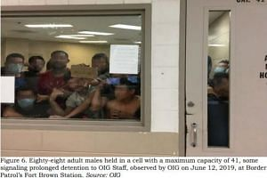 An image released in a report by the US Department of Homeland Security Inspector General Office shows 88 adult males in a cell for a maximum capacity of 41 overcrowding a Border Patrol facility in Fort Brown, Texas, on June 12, 2019.