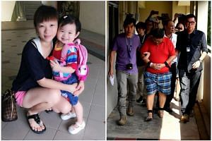 In a statement to the police, Teo Ghim Heng (right, shackled) said that on Jan 20, 2017, his wife Choong Pei Shan (left, with daughter Zi Ning) chided him for not having money to pay the child's school fees.