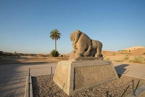 The Babel's Lion at the ancient archaeological site of Babylon.