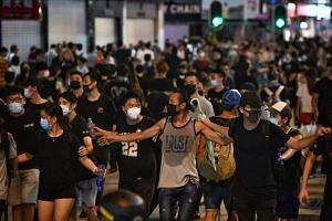 Protesters in Mong Kok, on July 7, 2019.
