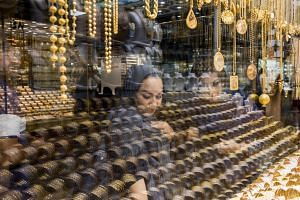 Shoppers look at jewelry shops at the grand bazaar in Tehran, Iran, on June 19, 2018.