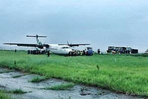 The Yeti Airlines ATR 72-500, arriving in Kathmandu from southern Nepal with 66 passengers, skidded about 15m into the grass.