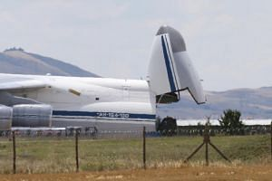 A Russian millitary cargo plane believed to be carrying parts of the Russian S-400 anti-aircraft missile system purchased from Russia at the Akincilar airbase in Ankara, Turkey, on July 12, 2019.