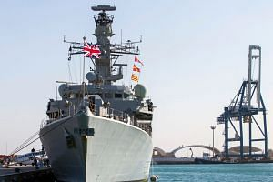 The British warship HMS Montrose is pictured docked in the Cypriot port of Limassol in 2014.