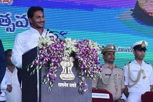 Chief Minister of Andhra Pradesh Jagan Mohan Reddy taking his oath during the swearing-in ceremony in Vijayawada on May 30, 2019.