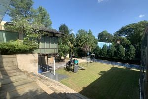 The freehold property has a land area of 27,000 sq ft and houses a covered car porch, lift, swimming pool, playground, basketball court and landscaped garden.
