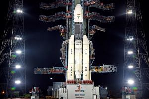Chandrayaan-2, India's first moon lander, on the launchpad at the Satish Dhawan Space Center in Sriharikota, India, on July 14, 2019.