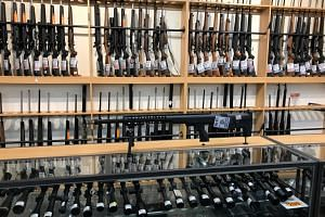 Firearms and accessories displayed at Gun City in Christchurch, New Zealand, on March 19, 2019.
