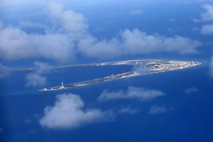 The Subi reef, one of several islands in the South China Sea claimed by China. China's U-shaped