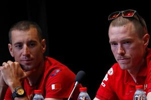 Rohan Dennis (right) at a news conference ahead of the race with team mate Vincenzo Nibali of Italy.