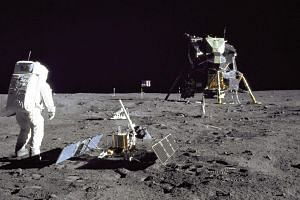 Lunar Module pilot Buzz Aldrin photographed during the Apollo 11 extravehicular activity on the Moon in 1969.