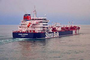 British-registered oil tanker Stena Impero at sea.