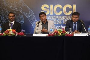 (From left) Singapore Indian Chamber of Commerce and Industry (SICCI) CEO Kumaran Barathan, SICCI chairman T. Chandroo, and organising chairman and SICCI board director Parthiban Murugaiyan at a press conference on July 22, 2019, where the launch of