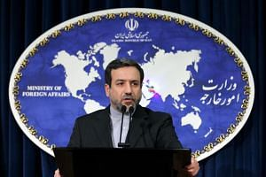 French Foreign Minister Jean-Yves Le Drian met Deputy Foreign Minister Abbas Araghchi (pictured), who Iranian media said brought an unspecified message from President Hassan Rouhani for French counterpart Emmanuel Macron.