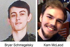 Bryer Schmegelsky (left), 18, and Kam McLeod, 19, had been reported missing in British Columbia but are now believed to be on the run.