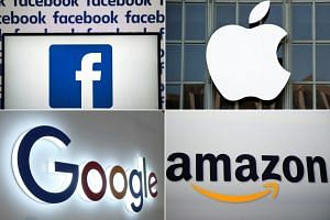 The Justice Department did not identify specific companies, but made apparent references to (clockwise from top left) Facebook, Apple, Amazon and Alphabet, that owns Google.