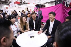 (From left) Chef Judy Koh, secretary-general of the  Singapore Bakery and Confectionery Trade Association, Ms Connie Ng, a baker from Bread Story, Mr Gilbert Tan, CEO of e2i, and Mr Ng Chee Meng, NTUC secretary-general and Minister in the Prime Minis