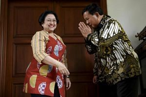 Chief of ruling party Indonesian Democratic Party of Struggle Megawati Soekarnoputri meeting the head of Indonesia's opposition party Gerindra Prabowo Subianto on July 24, 2019.
