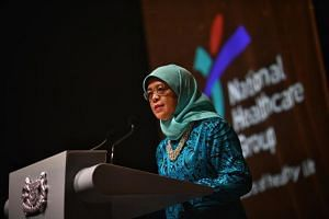President Halimah Yacob speaking at Tan Tock Seng Hospitals' 175th anniversary celebration on July 27, 2019.