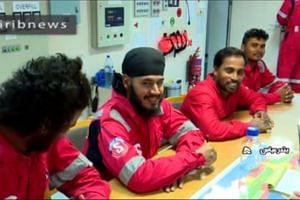 An image grab shows crew members of the Stena Impero after it was seized by Iran's Revolutionary Guard Corps.