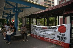 A Red Dengue Alert banner in Bishan Street 22. A total of nine people have died of dengue this year as of July 20.