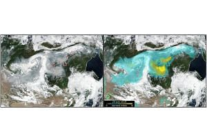 A satellite photo obtained on July 25, 2019, shows aerosol index overlaid (right) and the fire peaks (left) over Siberia.