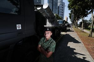Lance Corporal Nabeel Majdi will be driving the High Mobility Cargo Transporter that carries the Singapore navy's Harpoon surface-to-surface anti-ship missile.
