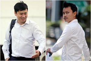 Neuron Mobility's chief executive officer Zachary Wang Zizi (left) and e-scooter retailer Samuel Tan Woon Yeow of Synergy Scooters appeared in court on Aug 1, 2019.