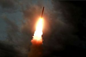 A ballistic missile is launched from an unknown location in North Korea early on July 31, 2019.