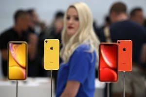 iPhones on display during an Apple special event in Cupertino, California.