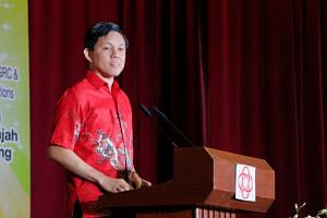 Trade and Industry Minister Chan Chun Sing speaking at a National Day dinner at Tanjong Pagar Community Club on Aug 4, 2019.