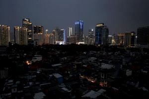 Parts of Jakarta remain dark, during a major power outage that hit the Indonesian capital and nearby regions on Aug 4, 2019.