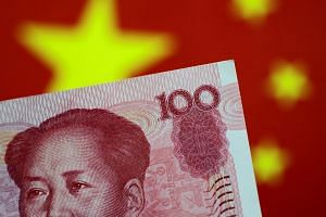 The exchange rate tumbled after China's central bank set its daily reference rate for the onshore rate at a weaker level than 6.9 per dollar for the first time since December.