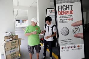 A volunteer sharing dengue awareness information with a resident in Hong Kah North. The authorities' efforts have been effective in moderating the magnitude of dengue outbreaks in Singapore, but dengue control will continue to hinge on the efforts of