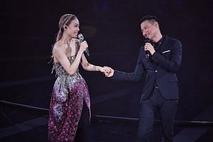 Jacky Cheung popped up at Joey Yung's concert to share a duet of his song So Close Yet So Far.