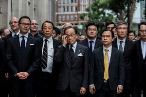 In this picture taken on June 6, 2019, legal professionals march to the Central Government Offices in Hong Kong. On Aug 7, more than 3,000 lawyers took to the streets for the second time since anti-extradition protests escalated in June.