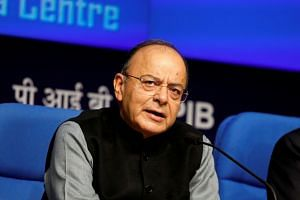 A 2018 photo shows Arun Jaitley at a news conference in New Delhi, India.