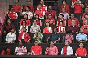 (Second row, from left) Indonesia's First Lady Iriana Widodo and President Joko Widodo, Brunei's Queen Raja Isteri Pengiran Anak Hajah Saleha and Sultan Hassanal Bolkiah, and Malaysia's First Lady Siti Hasmah Mohamad Ali and Prime Minister Mahathir M