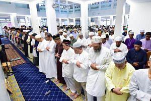 Congregants at Masjid Ar-Raudhah in Bukit Batok on Aug 11, 2019.