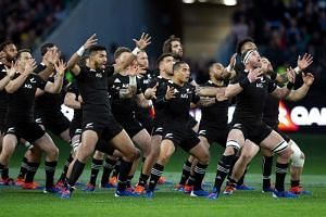 In this photo taken on Aug 10, New Zealand players perform the Haka before the Rugby Championship Bledisloe Cup Test match between the Australian Wallabies and New Zealand All Blacks in Perth.